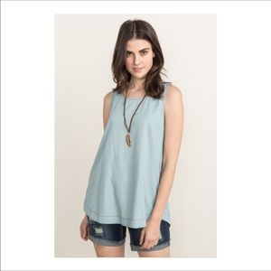 💕Washed Chambray Side Button Tank💕